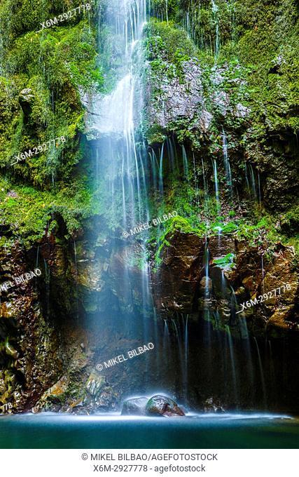 Waterfall. Levada de Caldeirao Verde. Santana. Madeira. Portugal, Europe