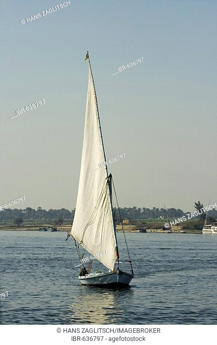 Felucca on the Nile, Luxor, Nile Valley, Egypt, Africa