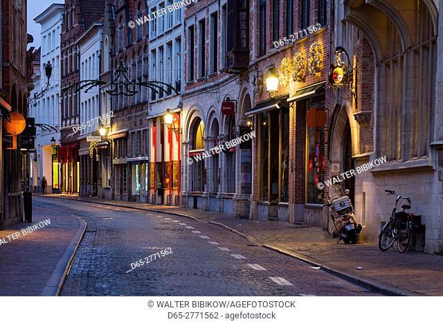 Belgium, Bruges, Wollestraat street, dawn