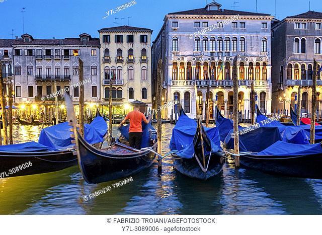 Gondoliere in Canal Grande, Venice, Italy,
