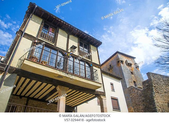 Facade of house and Fernan Gonzalez tower. Covarrubias, Burgos province, Castilla Leon, Spain