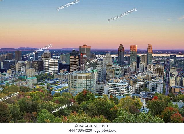 Autumn, Canada, North America, Montreal, Quebec, architecture, city, colours, downtown, hill, landscape, skyline, skyscrapers, sunset, touristic, travel
