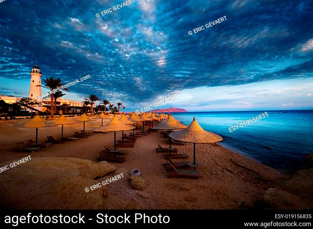 lighthouse and beach in sharm el sheikh