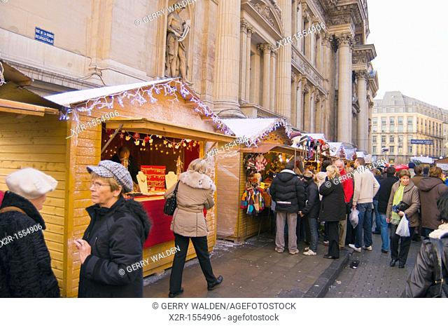 Christmas street market just off the main Grand Place in the centre of Brussels, Belgium