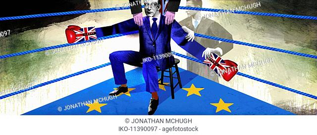 British politician as boxer preparing for brexit fight with European Union