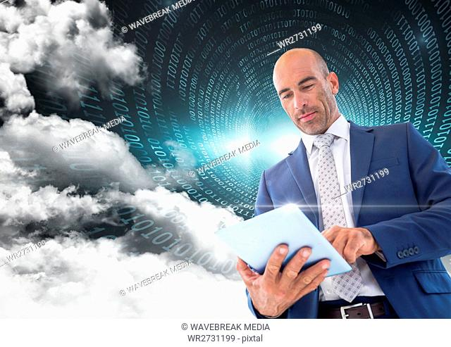 Businessman using digital tablet with binary codes and cloud in background