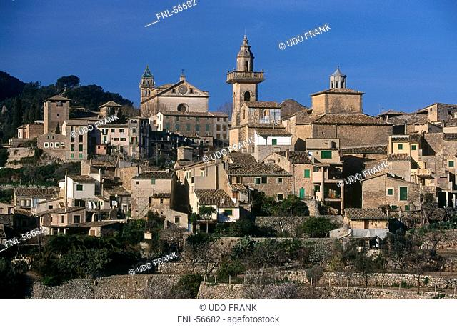Buildings on hill, Valldemosa, Majorca, Balearic Islands, Spain