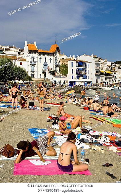 Cadaqués  La Plaja beach  Costa Brava  Girona province  Catalonia  Spain