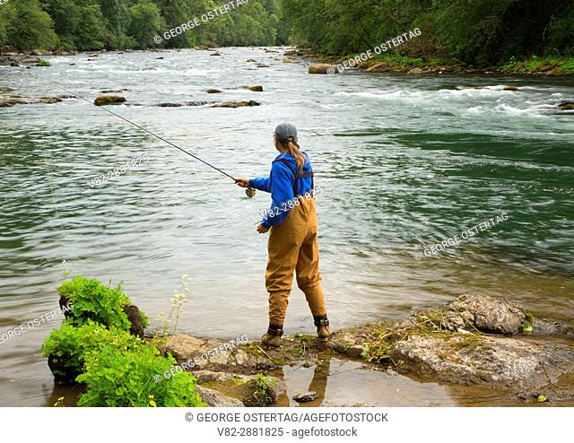 Flyfishing on the North Santiam River, Minto County Park, Marion County, Oregon