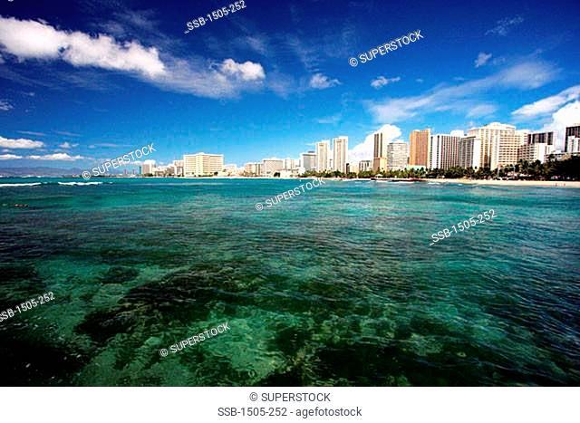 Buildings on the waterfront, Waikiki Beach, Oahu, Hawaii, USA