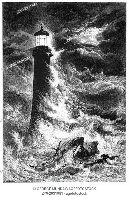 1870: Raging storms assault the Eddystone Lighthouse, 9 statute miles (14 km) south of Rame Head, Devon, England. This is Smeaton's Lighthouse, dating from 1759
