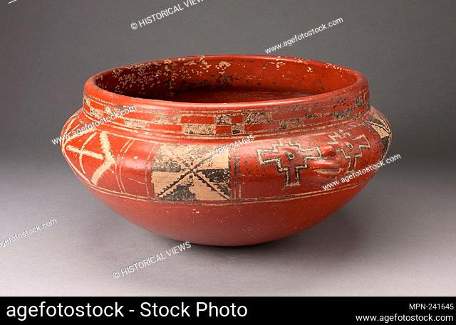 Polychrome Bowl with Geometric Designs and Face in Relief on Shoulder - c. 400 B.C. - Chupícuaro Guanajuato or Michoacán, Mexico - Artist: Chupícuaro
