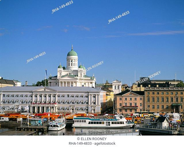 Helsinki skyline and White Church Lutheran cathedral, Helsinki, Finland, Scandinavia, Europe