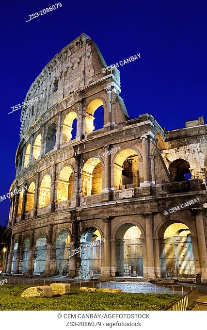 The Roman Colosseum and car light-trails, Rome, Lazio, Italy, Europe