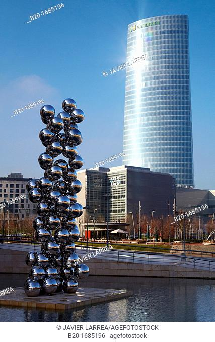 Tall Tree & The Eye, sculpture by Anish Kapoor, Guggenheim Museum, Iberdrola Tower in background, Bilbao, Bizkaia, Basque Country, Spain