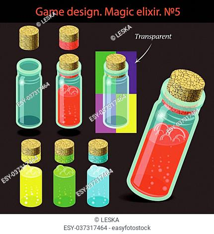 Vector illustration. Transparent magic elixir in different colors with a wooden stopper. Game design