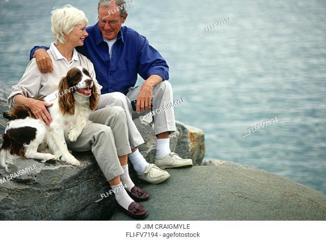 FV7194, Jim Craigmyle , Senior Couple by Lake with Dog