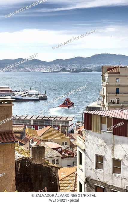 Partial view of the Ria de Vigo, Pontevedra, Galicia, Spain, Europe