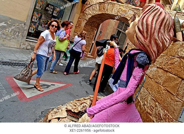 Street adorned, Festes de Gracia 2014, Barcelona, Catalonia, Spain