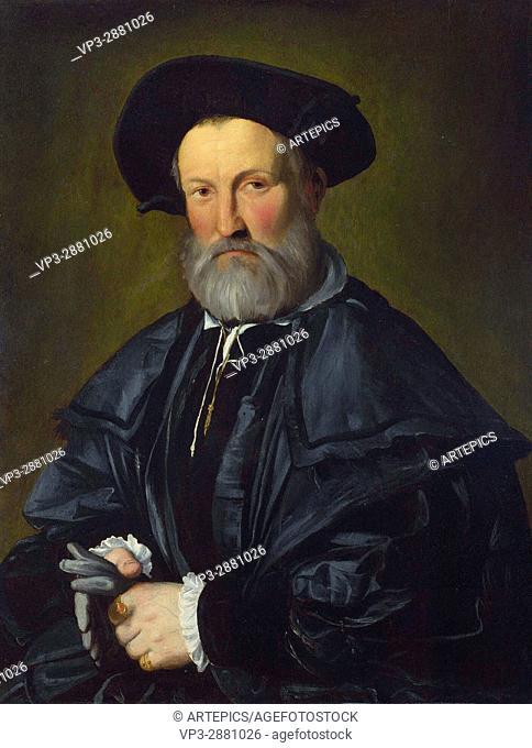 Callisto Piazza . Portrait of a bearded man . 1528. National Gallery London