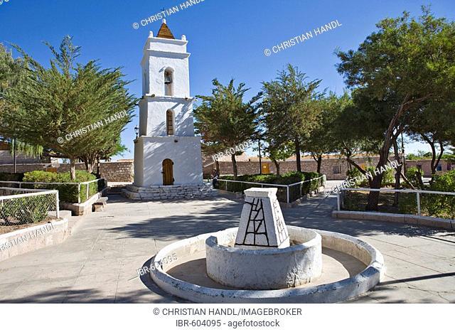 Bell tower, Iglesia San Lucas church (1750), Toconao, Región de Antofagasta, Chile, South America