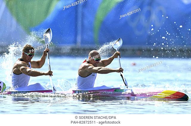 Ronald Rauhe (R) and Tom Liebscher of Germany in action during the Men's Kayak Double 200m Heats of the Canoe Sprint events of the Rio 2016 Olympic Games at...