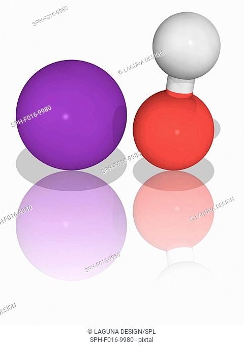 Potassium hydroxide. Molecular model of the inorganic compound potassium hydroxide (KOH), used as a precursor to most soft and liquid soaps as well as of...