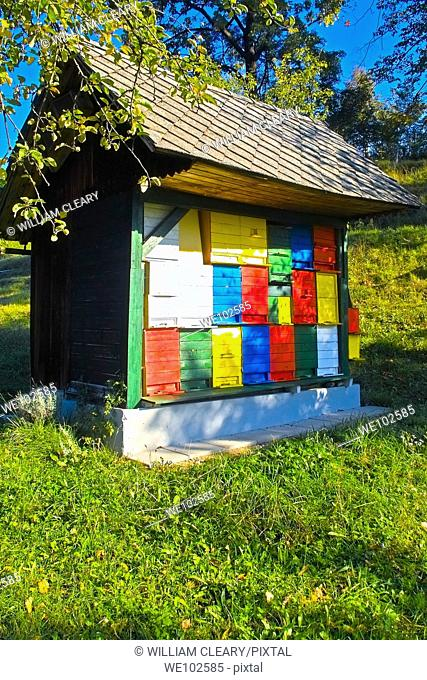 Colourful beehives in a Bee House in an Orchard in Slovenia