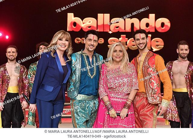 Milly Carlucci, Mara Venier with the dancers at the talent show ' Ballando con le stelle ' (Dancing with the stars) Rome, ITALY-14-04-2019