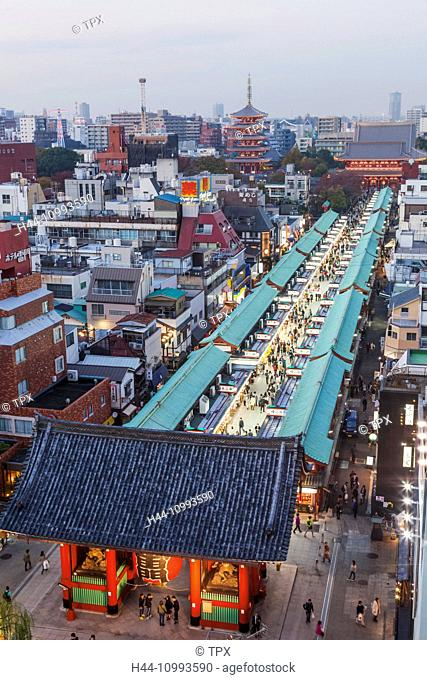 Japan, Honshu, Tokyo, Asakusa, Nakamise Shopping Street and Sensoji Temple aka Asakusa Kannon Temple