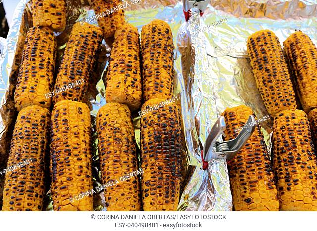 Grilled sweet corn for sale on stall of street food vendor