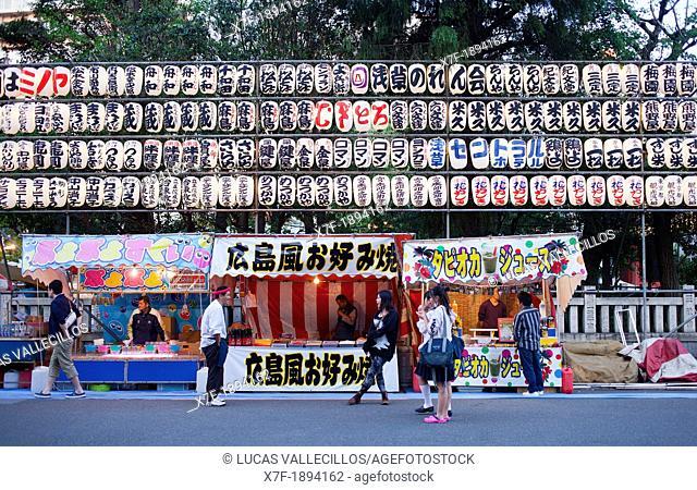 Senso-ji Temple, food stalls and decoration during Sanja Matsuri Asakusa Tokyo city, Japan, Asia
