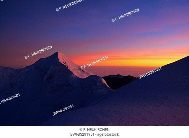 sunset at Illimani, Bolivia, Andes, Cordillera Real