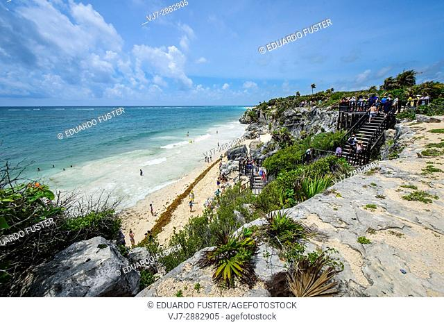 Caribbean sea from the mayan site of Tulum, Quintana Roo, Mexico