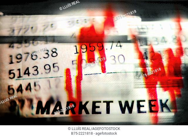 Digital composition of Market Week stock exchange numbers with a red graph