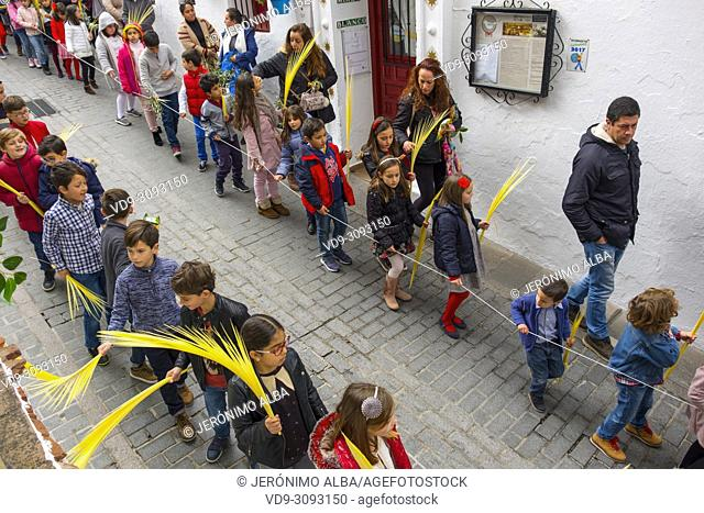 Holy Week. Palm Sunday procession, easter week. White Village of Mijas, Malaga province, Costa del Sol, Andalusia, Spain Europe