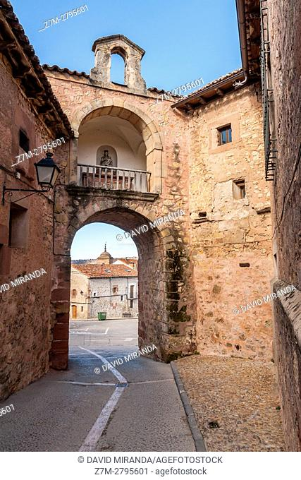Gate, Sigüenza, Guadalajara province, Castile La Mancha, Spain. Historical Heritage Site