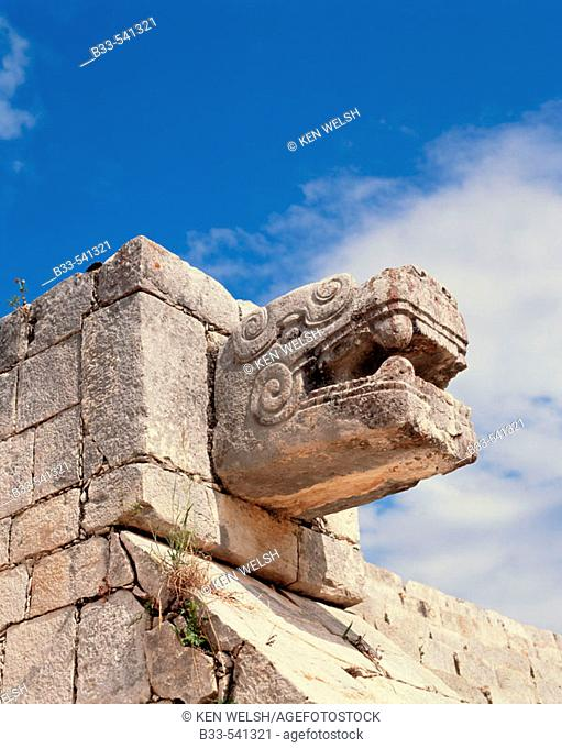 Jaguar head. Chichén Itzá. Mexico