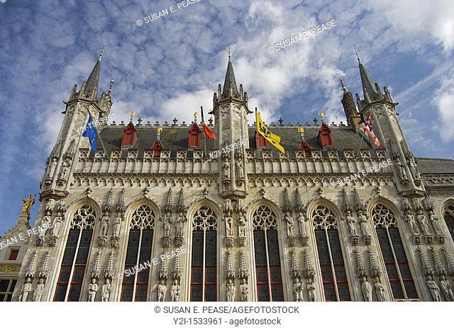 Detail of Bruges' ornate town hall  Bruges, Belgium