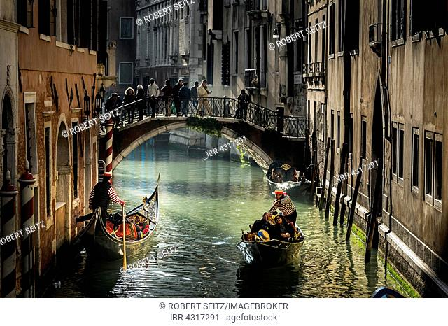 Canal with gondolas and gondoliers, Venice, Veneto, Italy