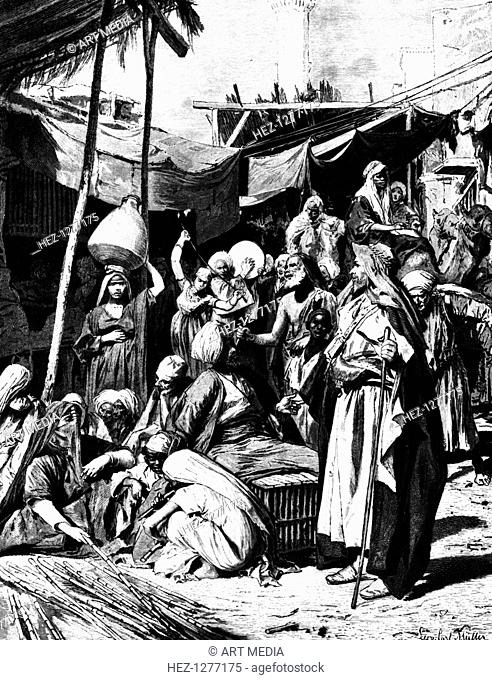 'Market at Tantah, Egypt', 1880. Published in L'Egypt by George Moritz Ebers, 1880