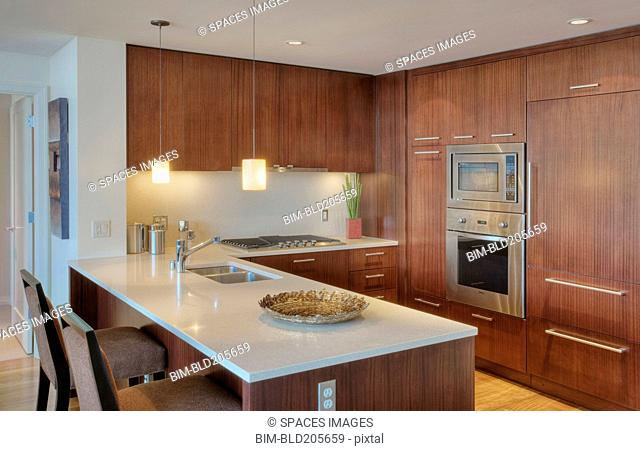 Wood cupboards in modern kitchen