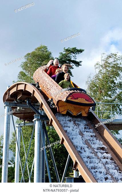 Family in roller coaster
