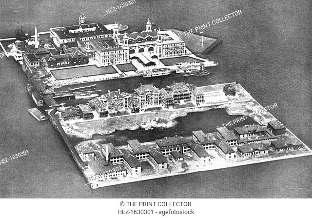 Aerial view of Ellis Island Immigration Station, New York, USA, 1926. From An Outline of Christianity, The Story of Our Civilisation