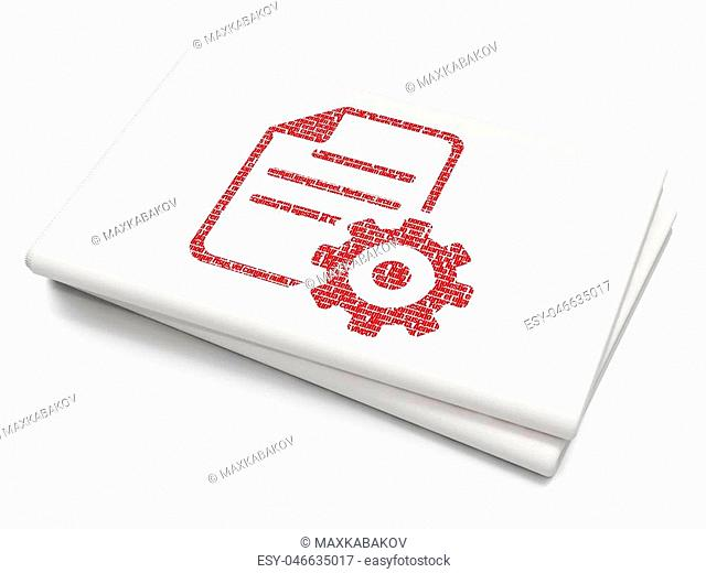 Software concept: Pixelated red Gear icon on Blank Newspaper background, 3D rendering
