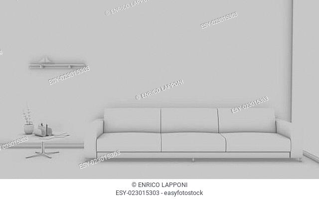 Front view of an interior rendering of a living room without textures