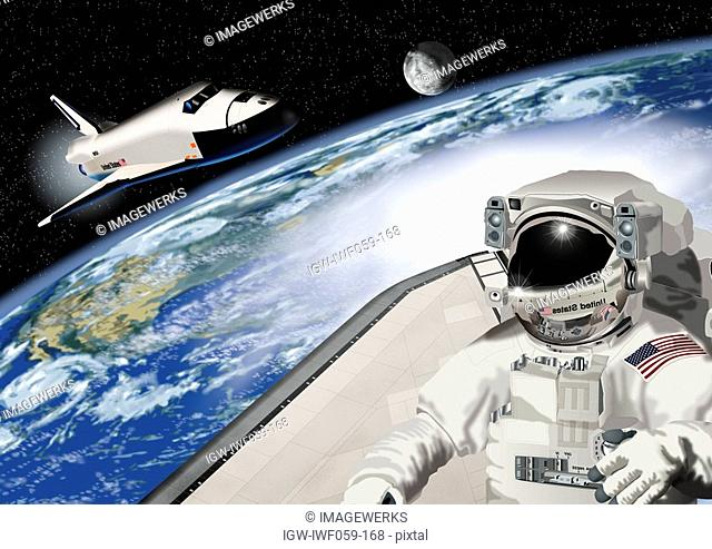 Astronaut and earth with space rocket in the background