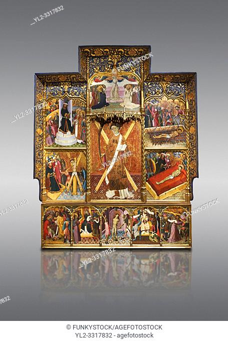 Gothic altarpiece dedicated to St Vincent by Bernat Martorell circa 1483-1440 in Barcelona, tempera and gold lef on wood from the Parish church of St Vincent of...
