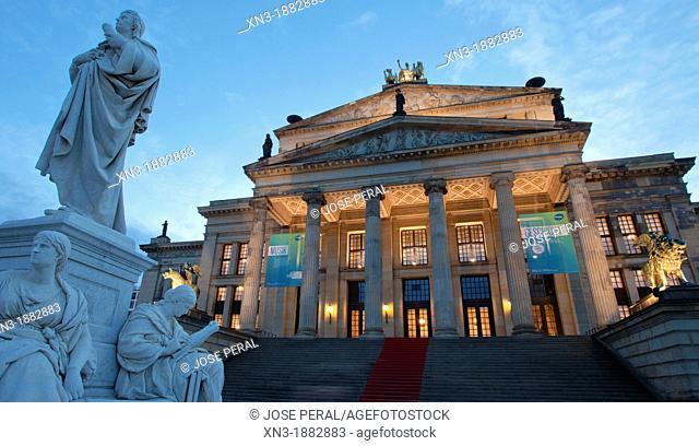 Schiller monument, Concert Hall, Schauspielhaus theatre, Gendarmenmarkt square, Mitte, Berlin, Germany, Europe