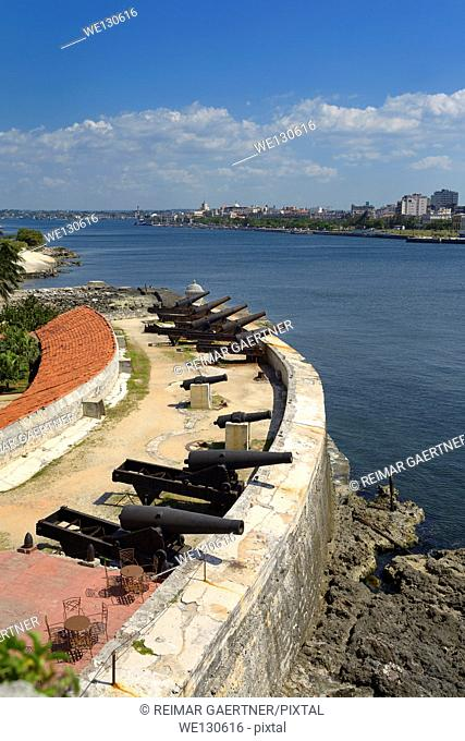 12 apostles cannon battery of Morro Castle fortress guarding the entrance to Havana Bay Cuba